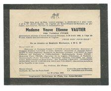 FAIRE-PART AVIS De DECES MEMENTO..Vve VAUTIER Née Thérèse PRIME Décédée à SAINT HILAIRE De BRIOUZE (61) En 1949 à 67 Ans - Décès