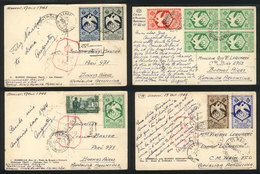 FRENCH EQUATORIAL AFRICA: 4 Postcards Sent From Bangui (3) And Brazzaville To Argen - A.E.F. (1936-1958)