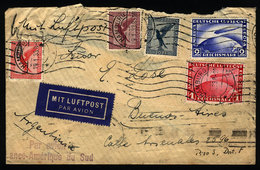 GERMANY: Airmail Cover Franked By Sc.C35 + C36 (Zeppelin 1Mk + 2Mk) + Other Values, - Unclassified