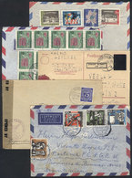 GERMANY: 5 Covers Or Cards Mailed Between 1945 And 1963, Most With Defects, Low Sta - Germany
