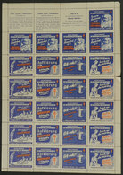 GERMANY: FIGHT AGAINST TUBERCULOSIS: 1951 Issue, Complete Sheet Of 5 Sets With 3 L - Unclassified
