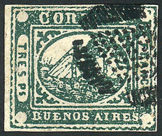 ARGENTINA: GJ.6, Tres Ps. Green, FORGERY Of Sperati, VF Quality! - Buenos Aires (1858-1864)