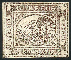ARGENTINA: GJ.7, Proof Of 4P. In Grayish Dun Eventually Issued In Red, Position 40, - Buenos Aires (1858-1864)