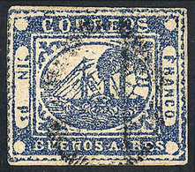 ARGENTINA: GJ.11, IN Ps Blue, Beautiful Example Of Huge Margins, With Double Cancel - Buenos Aires (1858-1864)