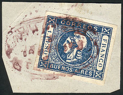 ARGENTINA: GJ.17, 1P. Blue, On Fragment Tied By The Extremely Rare Lilac Cancel Of - Buenos Aires (1858-1864)