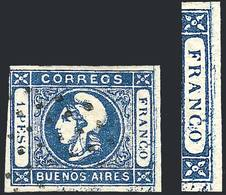 """ARGENTINA: GJ.17, 1P. Blue With Variety: """"Small Line Parallel To Right Frame"""", R - Buenos Aires (1858-1864)"""