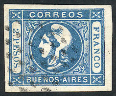 ARGENTINA: GJ.20, 2P. Blue, Clear Impression, Excellent Copy Of Very Wide Margins, - Buenos Aires (1858-1864)