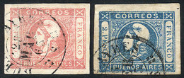 ARGENTINA: GJ.21/22, 1P. Rose + 2P. Blue, Complete Set Of 2 Values With Worn Impres - Buenos Aires (1858-1864)