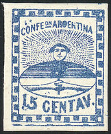 """ARGENTINA: GJ.3c, 15c. Blue, Small Figures, With Variety: """"double Line Below The - Unused Stamps"""