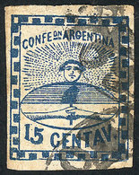 ARGENTINA: GJ.3A, The Very Rare 15c. Blue Small Figures PLATE B, Used With Dubious - Unused Stamps