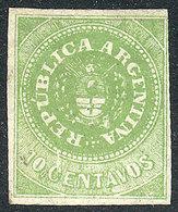 ARGENTINA: GJ.8, 10c. With Accent, Yellow-green, Beautiful Example, Mint Part Origi - Argentina