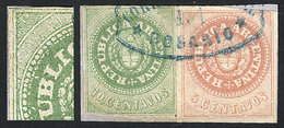 ARGENTINA: GJ.8 Var. + 7, Fragment With Escuditos Of 5c. + 10c., Both With Accent. - Argentina