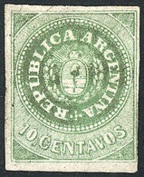 ARGENTINA: GJ.8A, 10c. With Accent, Fantastic Example In The Rare GRASS GREEN Color - Argentina