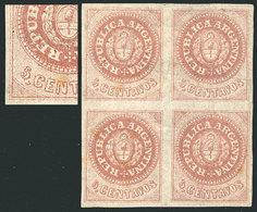 ARGENTINA: GJ.10, 5c. Without Accent Over The U, Block Of 4, Mint Part Original Gu - Argentina