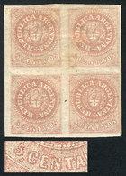 ARGENTINA: GJ.10, 5c. Dull Rose Without Accent Over The U, Block Of 4, Mint Origin - Argentina