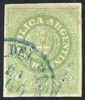 ARGENTINA: GJ.11, 10c. Green WITHOUT Accent, Used In Rosario, Good Margins, Nice Ex - Argentina
