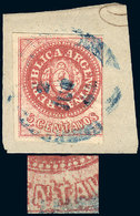 ARGENTINA: GJ.12, 5c. Semi-worn Plate, With Interesting RETOUCH In The Lined Backgr - Argentina