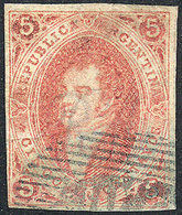 ARGENTINA: GJ.16, 5c. Red, 1st Printing Imperforate, OM Cancel, Very Fine Quality! - Argentina