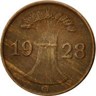 Allemagne, République De Weimar, Reichspfennig, 1928, Karlsruhe, TB+, Bronze - 1 Rentenpfennig & 1 Reichspfennig