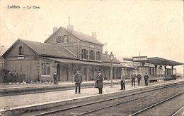 Lobbes - La Gare (animée, 1905, Edit. J. Namur Horgnies - Lobbes