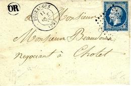 1858 - Lettre De POUZAUGES  ( Vendée ) Cad T15   Affr. N° 14 ) Oblit. Pc 2565 Pour Cholet - O R = La Flociliaire - 1849-1876: Classic Period
