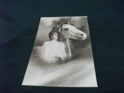 CAVALLO HORSE BIANCO IN PRIMO PIANO TESTA CON DONNA PICCOLO FORMATO - Pferde