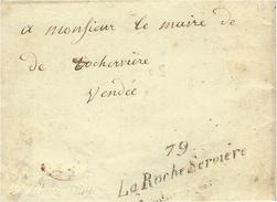 1844- Lettre Cursive  79 /  La Roche-Servière   -sans Taxe  !!  En Provenance De Gièleri - 1801-1848: Precursori XIX