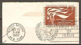 NATIONS - UNIES    -    1957 .  Droits De L' Homme Oblitéré Sur Fragment - New-York - Siège De L'ONU