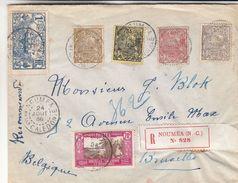 Nouvelle Calédonie - Lettre Recom De 1936 - Oblit Noumea - Exp Vers Bruxelles - Bateaux - Palmiers - Briefe U. Dokumente