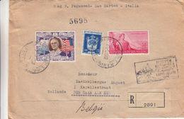 Saint Marin - Lettre Recom De 1948 - Oblit Rép Di San Marino - Exp Vers Den Haan - Cahts De Milan Et Ambulant Bologna - Saint-Marin