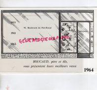 75- PARIS- RARE CARTE DE VOEUX 1964- CH. BOUCAUD PERE FILS- ANTIQUAIRE BRONZES FAIENCES-91 BD PORT ROYAL- 25 RUE DU BAC - Old Professions