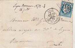 Yvert 60A Cérès Lettre LYON Les Terreaux GC 2145 Du 26/7/1872 Pour Besançon Passe Dijon - Postmark Collection (Covers)