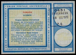 CANADA Vienna Type XIX 15 CENTS International Reply Coupon Reponse Antwortschein IAS IRC O INVERNESS 18.03.70 ( UT15a ) - Antwortcoupons