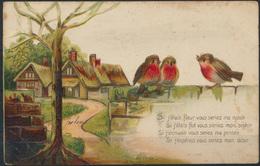 Ansichtskarte Prägekarte Künstler Juhen 3 Vögel Auf Mauer Walcourt N. Muno Tiere - Ohne Zuordnung