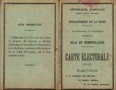 CARTE  ELECTORALE 1945 - Documentos Históricos