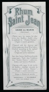 """étiquette Rhum  Saint Jean  Usine Du Marin  Martinique  """" Vers 1920"""" - Rhum"""