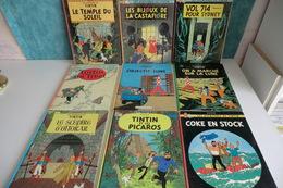 LOT DE 9 BD ANCIENNES TINTIN. HERGE. CASTERMAN. ENSEMBLE EN BON ETAT. Coke En Stock, Picaros, Objectif Lune............. - Livres, BD, Revues
