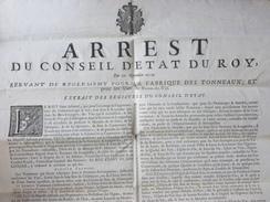 AFFICHE REGLEMENT POUR LA FABRIQUE DES TONNEAUX DE VINS FRANCE ET COLONIES 1727 - Historische Dokumente
