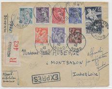 1945 - ENVELOPPE RECOMMANDEE EXPRES De ROUBAIX (NORD) => MONTBAZON (INDRE ET LOIRE) - IRIS + MERCURE LIBERATION - Poststempel (Briefe)