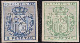 Telégrafos *17/18s. 2 Y 4 PESETAS SIN DENTAR. PRECIOSOS. - Central America