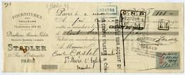 CHEQUE : STADLER, 33 RUE MONTMATRE, PARIS : 1919 / GILBERT, AVRANCHES - Chèques & Chèques De Voyage