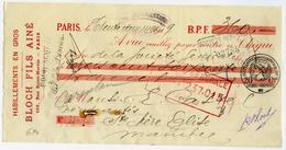CHEQUE : BLOCH FILS AINE, 196 RUE SAINT-MARTIN, PARIS, 1919 - Chèques & Chèques De Voyage