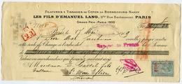 CHEQUE : LES FILS D'EMANUEL LANG, 11 BIS, RUE BACHAUMONT, PARIS, 1919 - Chèques & Chèques De Voyage