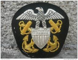 TRES BEL INSIGNE CASQUETTE OFFICIER U.S. NAVY --- Brodé Main - Casques & Coiffures