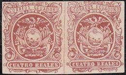 *4 (2). 1866. 4R ROJO CASTAÑO, PAREJA HORIZONTAL. LEVE DOBLEZ ENTRE LOS SELLOS. - 1847-99 Unionsausgaben