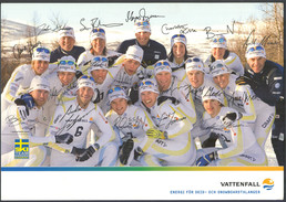 SVENSKA LANGDLANDSLAGET - Vintage PHOTO POSTCARD Autograph REPRINTS - 21 X 15 Cm  (VFS-09) - Winter Sports