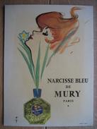 Superbe Carton Plastifié Publicitaire (1960) Illustré Par René GRUAU - Parfum NARCISSE BLEU De MURY à PARIS - Paperboard Signs