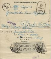 BIGLIETTO PRIGIONIERI POW CAMP 16 BOPHAL INDIA 1942 X PETRALIA SOTTANA OSPEDALE BIS - 1900-44 Vittorio Emanuele III