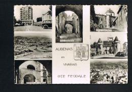 AUBENAS -enVIVARAIS-  Ardèche- Cité Féodale - Multivues -Armoiries- Belle Flamme Au Verso -Paypal Sans Frais - Aubenas