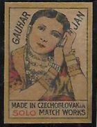 "INDIA MATCHBOX LABEL "" GAUHAR JAN ""  MADE IN CZECHOSLOVAKIA . - Boites D'allumettes - Etiquettes"